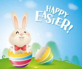 lovely rabbit with easter holiday background vector 05