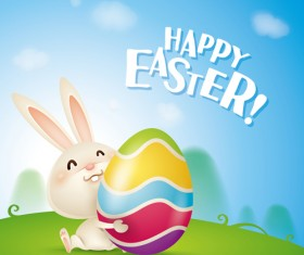 lovely rabbit with easter holiday background vector 07