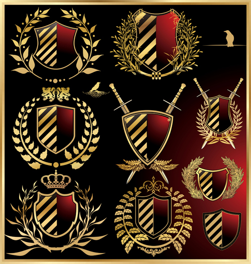 luxurious royal shield vector material 02