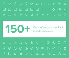 150 Kind outline vector web icons pack