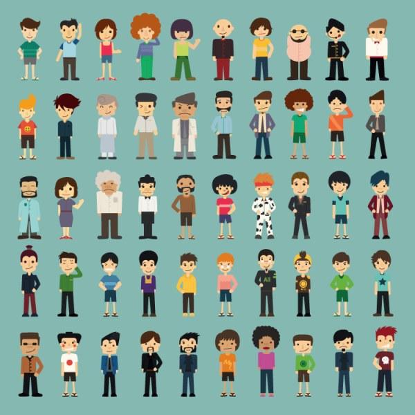 50 Kind cartoon characters vector material