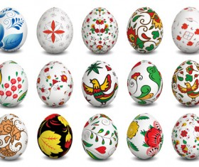 Beautiful easter eggs vectors set 01