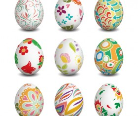 Beautiful easter eggs vectors set 02