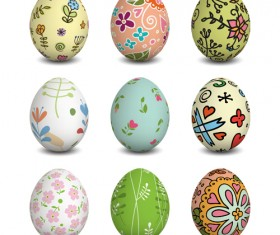 Beautiful easter eggs vectors set 03