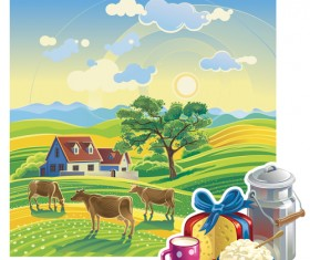 Beautiful farm scenery vectors material 01