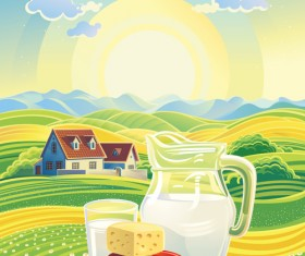 Beautiful farm scenery vectors material 03