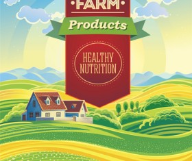 Beautiful farm scenery vectors material 04
