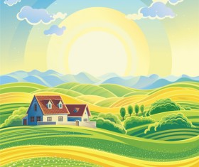 Beautiful farm scenery vectors material 05