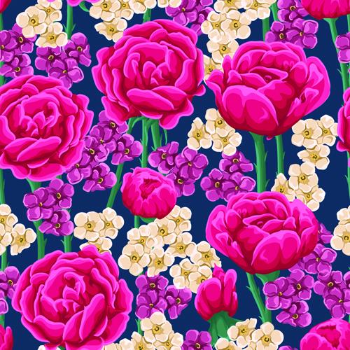 Beautiful flower seamless patterns retro vector set 01
