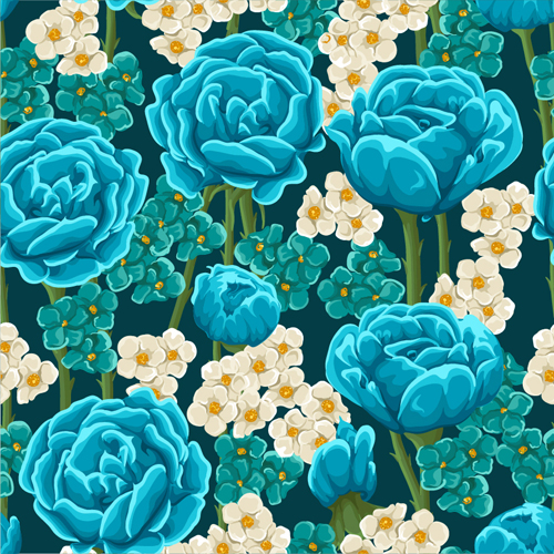 Beautiful Flower Seamless Patterns Retro Vector Set 02