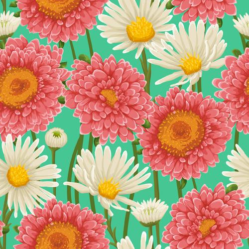 Beautiful flower seamless patterns retro vector set 03