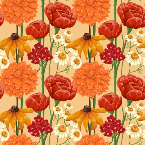 Beautiful flower seamless patterns retro vector set 04