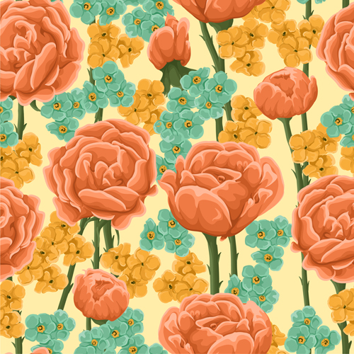 Beautiful flower seamless patterns retro vector set 05