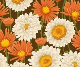 Beautiful flower seamless patterns retro vector set 07