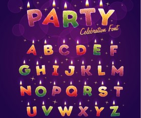 Birthday candles alphabet vector material