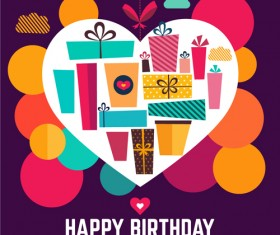 Birthday gift with heart background vector 01