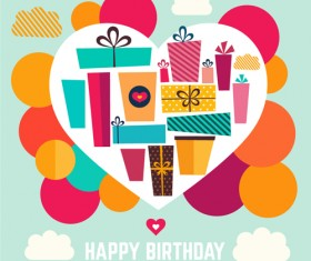 Birthday gift with heart background vector 02