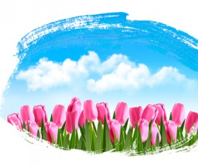 Blue sky with tulip spring background vector