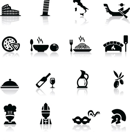 Building and food shadow icons