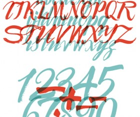 Calligraphic alphabet and numbers vector material