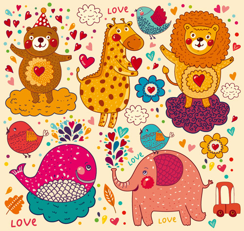 Cartoon animal with love elements vector set 01