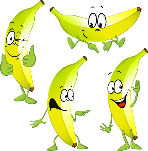 Cartoon Character Design Vector : Cartoon banana characters vector material