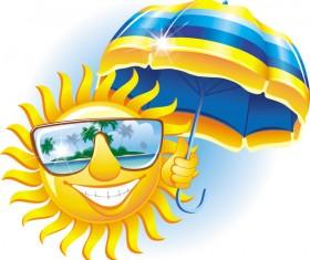 Cartoon sun smiley face vector design 02