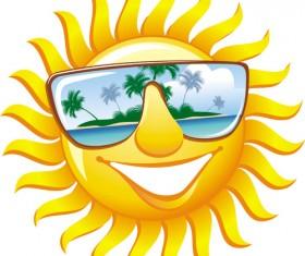 Cartoon sun smiley face vector design 03