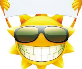 Cartoon sun smiley face vector design 04