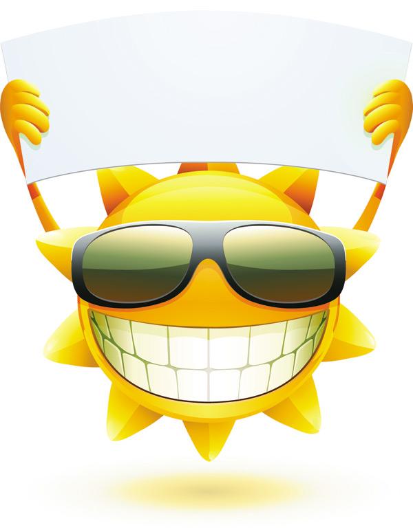 Cartoon Sun Smiley Face Vector Design 04 Free Download