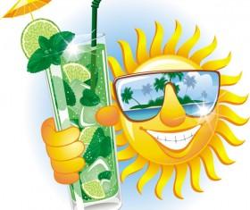 Cartoon sun smiley face vector design 06