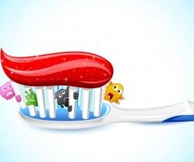 Cartoons dental care vector material 02