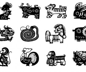 Chinese Zodiac silhouette vector set