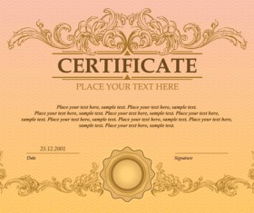 Certificate template vector for free download classical styles certificate template vectors 04 yelopaper Images