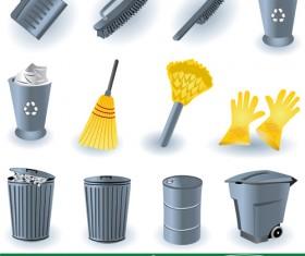 Cleaning tool design vectors set