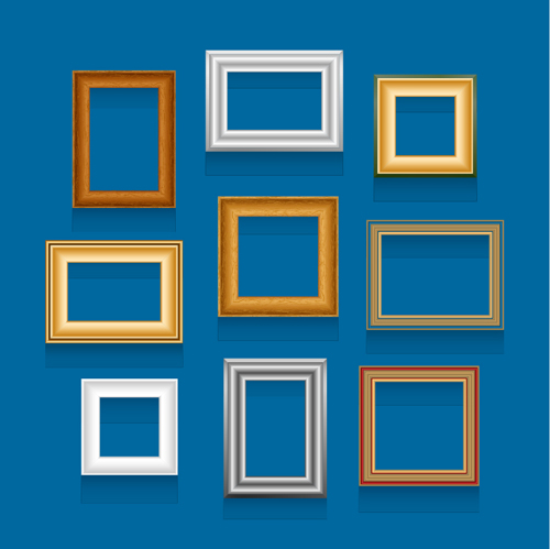 Colored wooden photo frame vector set