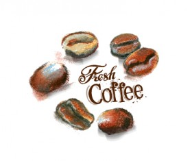 Coffee beans hand drawing vectors 02