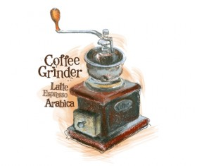 Coffee grinder hand drawn vector material