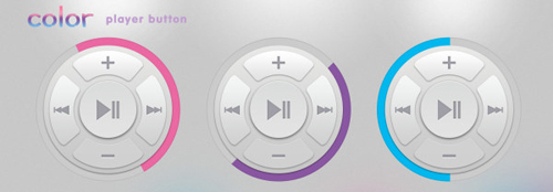 Colored player button round psd material