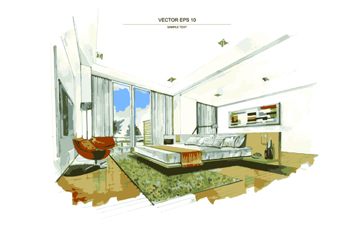 Creative interior sketch design vector 01 vector life for Creative live interior design
