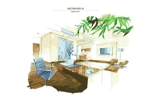 Creative Interior Sketch Design Vector 04