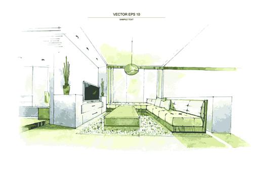 Creative Interior Sketch Design Vector 05