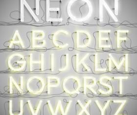 Creative neon alphabet vector set 01