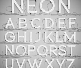 Creative neon alphabet vector set 02