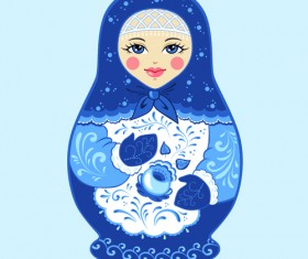 Cute russian doll design vectors 01