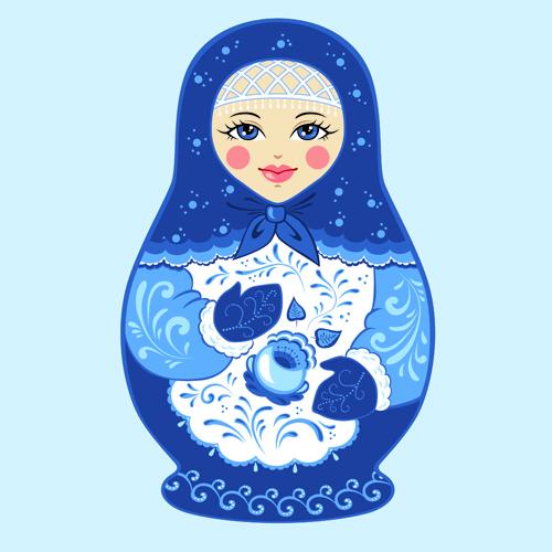 Cute russian doll design vectors 01