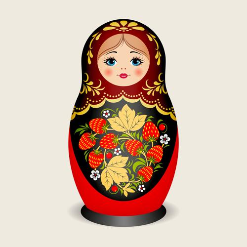 Cute russian doll design vectors 02