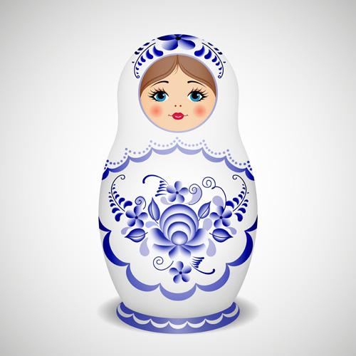 Cute russian doll design vectors 03
