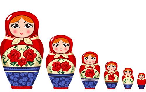 Cute russian doll design vectors 04