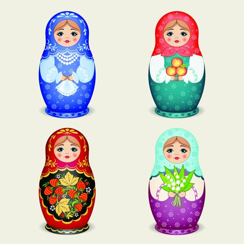 Cute russian doll design vectors 05